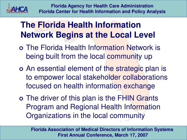 The Florida Health Information Network Begins at the Local Level