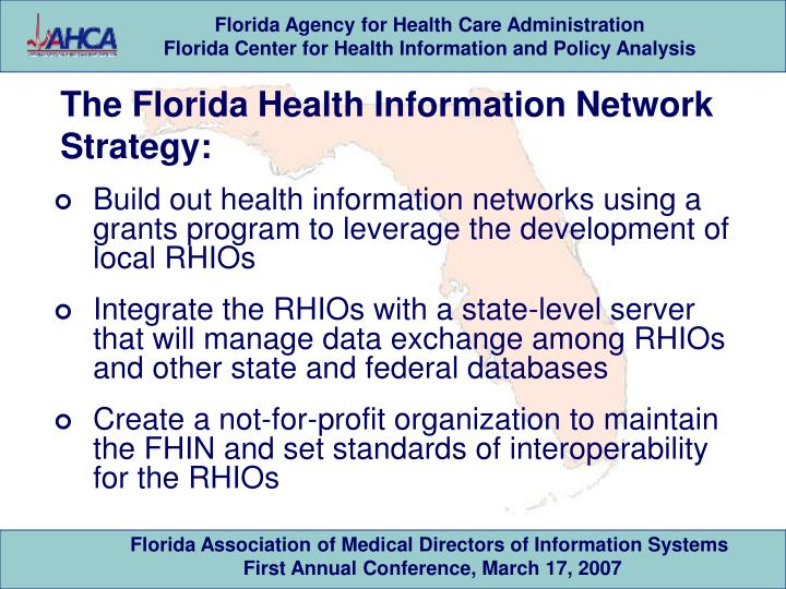 The Florida Health Information Network Strategy: