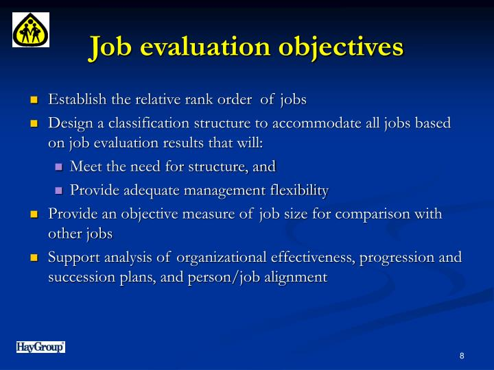 Job evaluation objectives