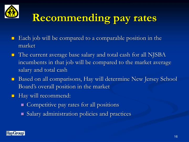 Recommending pay rates