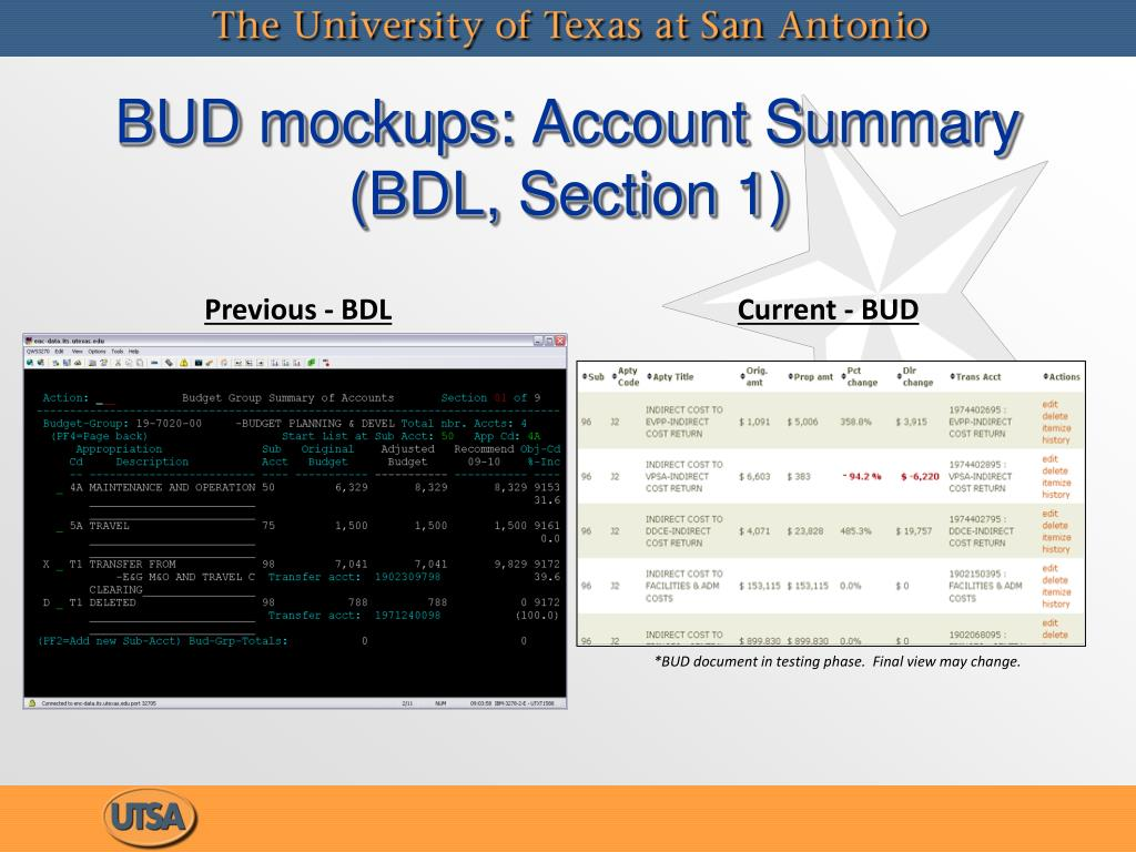 BUD mockups: Account Summary (BDL, Section 1)