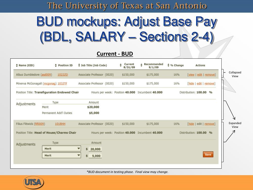 BUD mockups: Adjust Base Pay (BDL, SALARY – Sections 2-4)