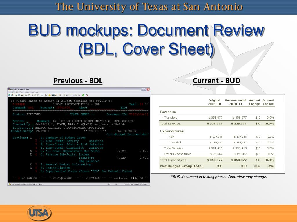 BUD mockups: Document Review (BDL, Cover Sheet)