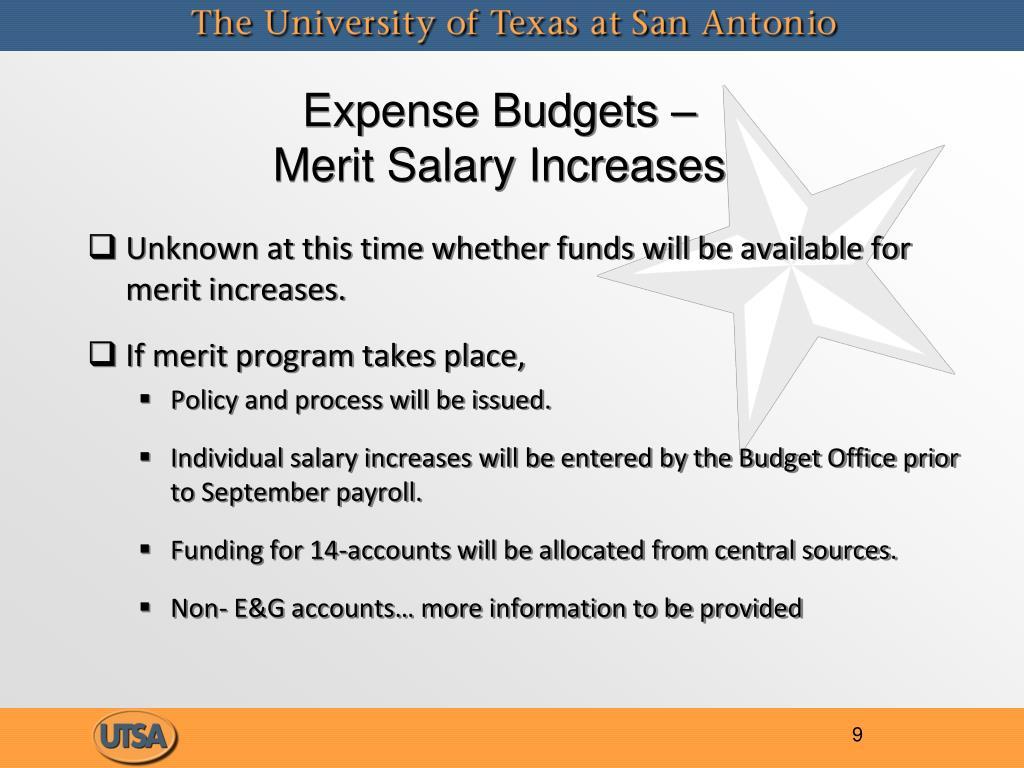Expense Budgets –