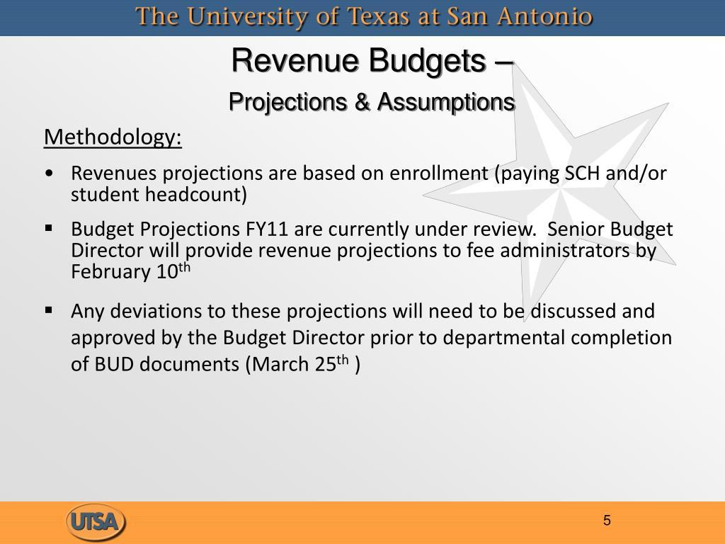 Revenue Budgets –