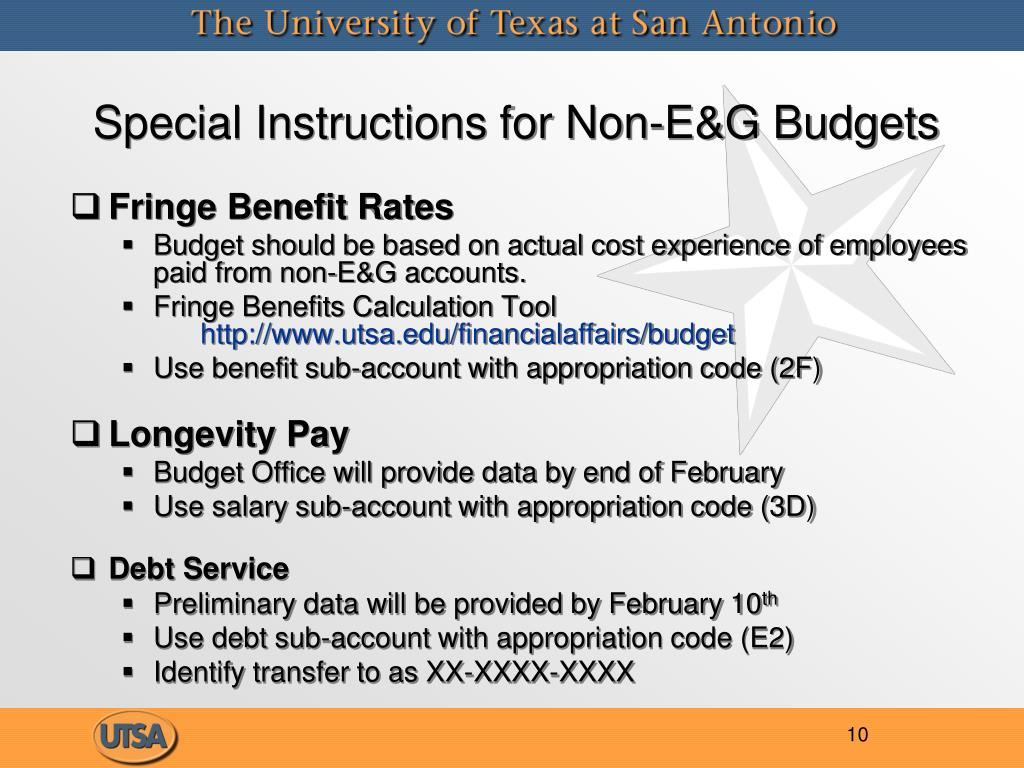 Special Instructions for Non-E&G Budgets