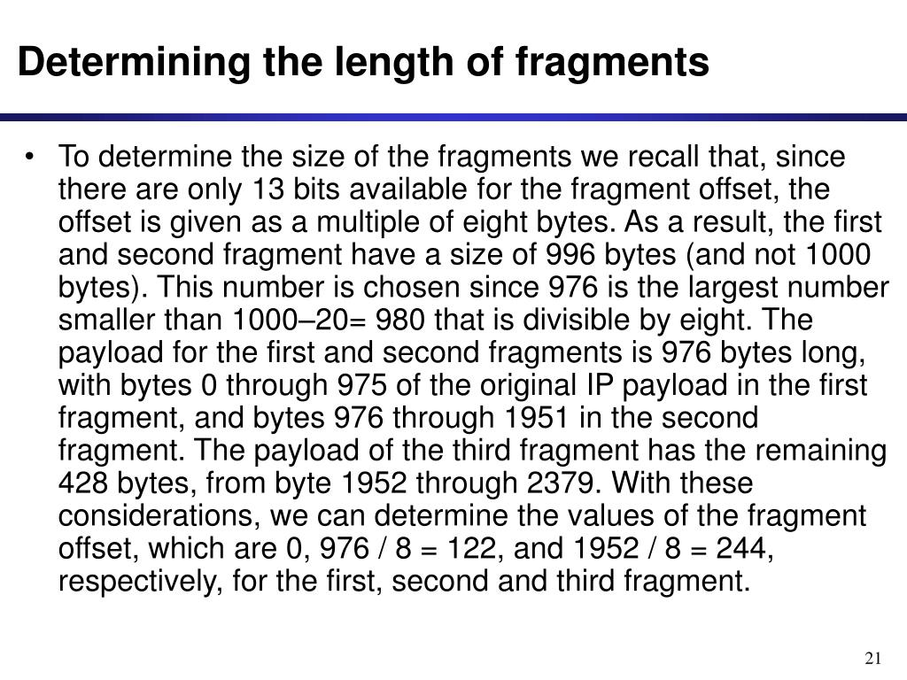 Determining the length of fragments