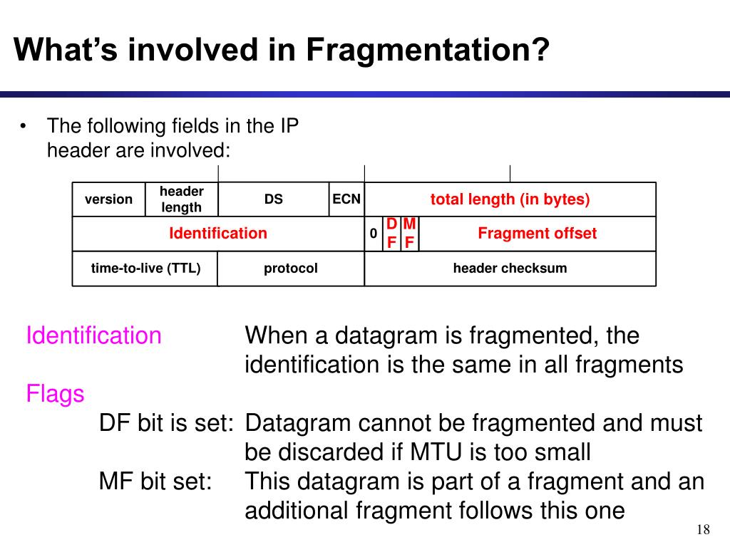 What's involved in Fragmentation?