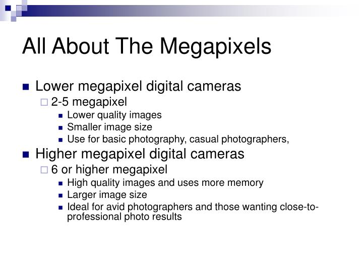 All about the megapixels