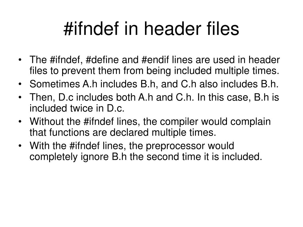 #ifndef in header files