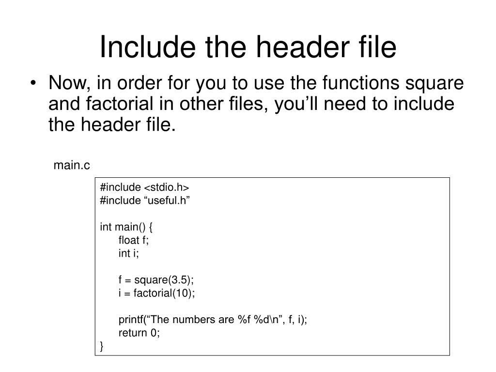Include the header file