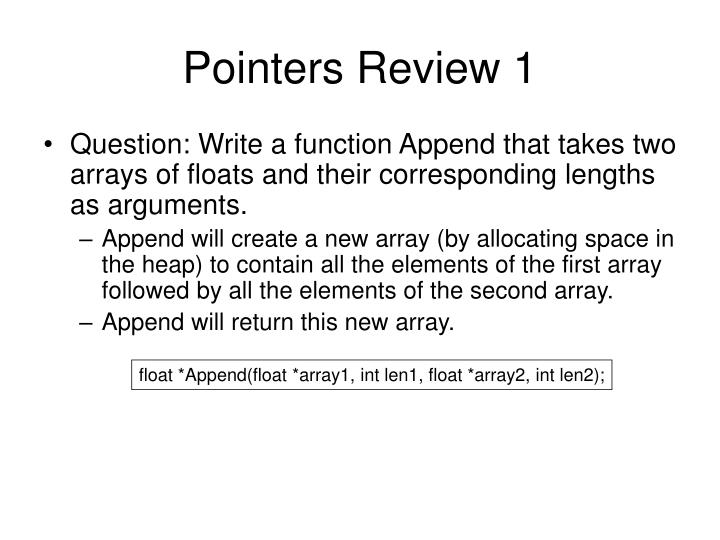 Pointers review 1