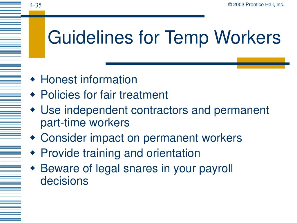 Guidelines for Temp Workers