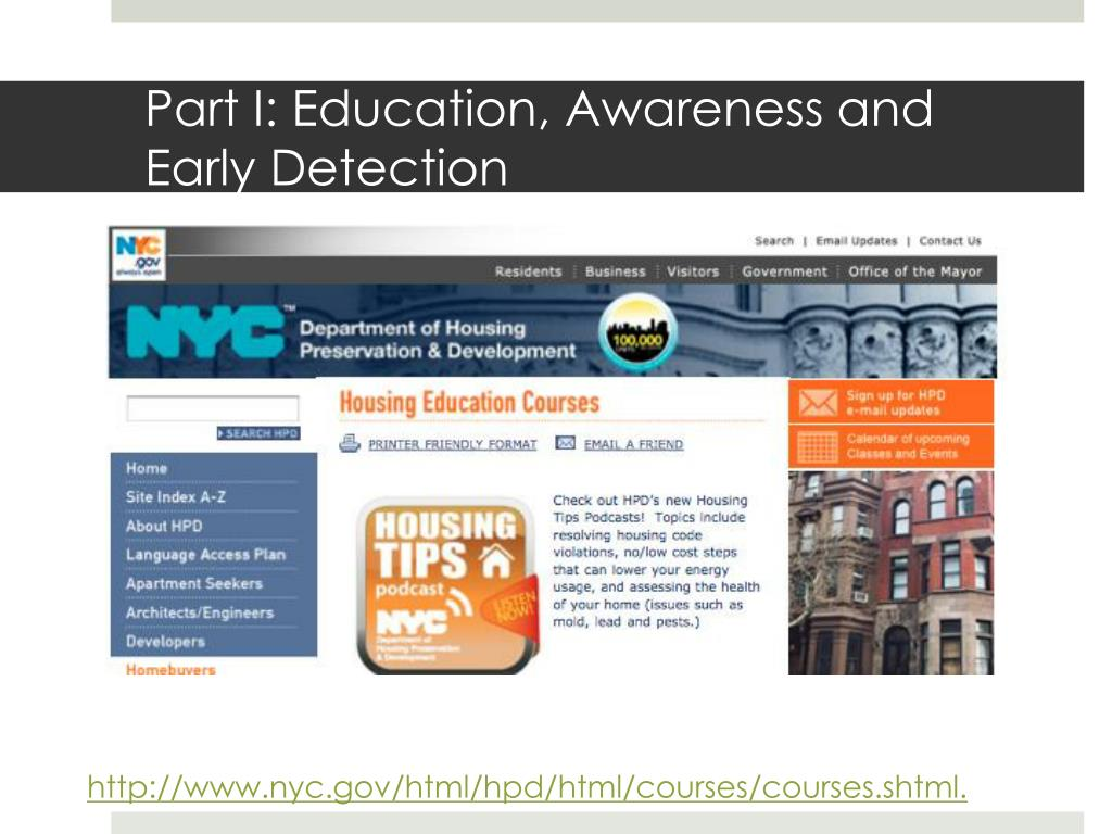 Part I: Education, Awareness and Early Detection