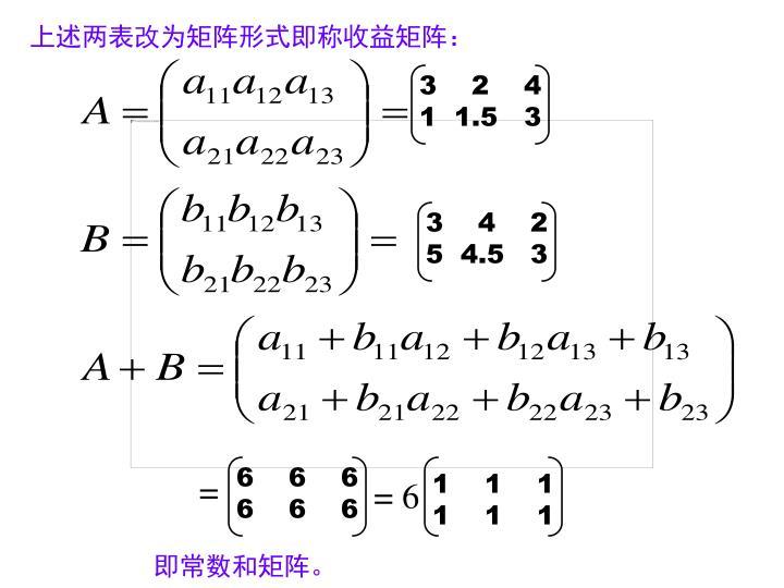 上述两表改为矩阵形式即称收益矩阵: