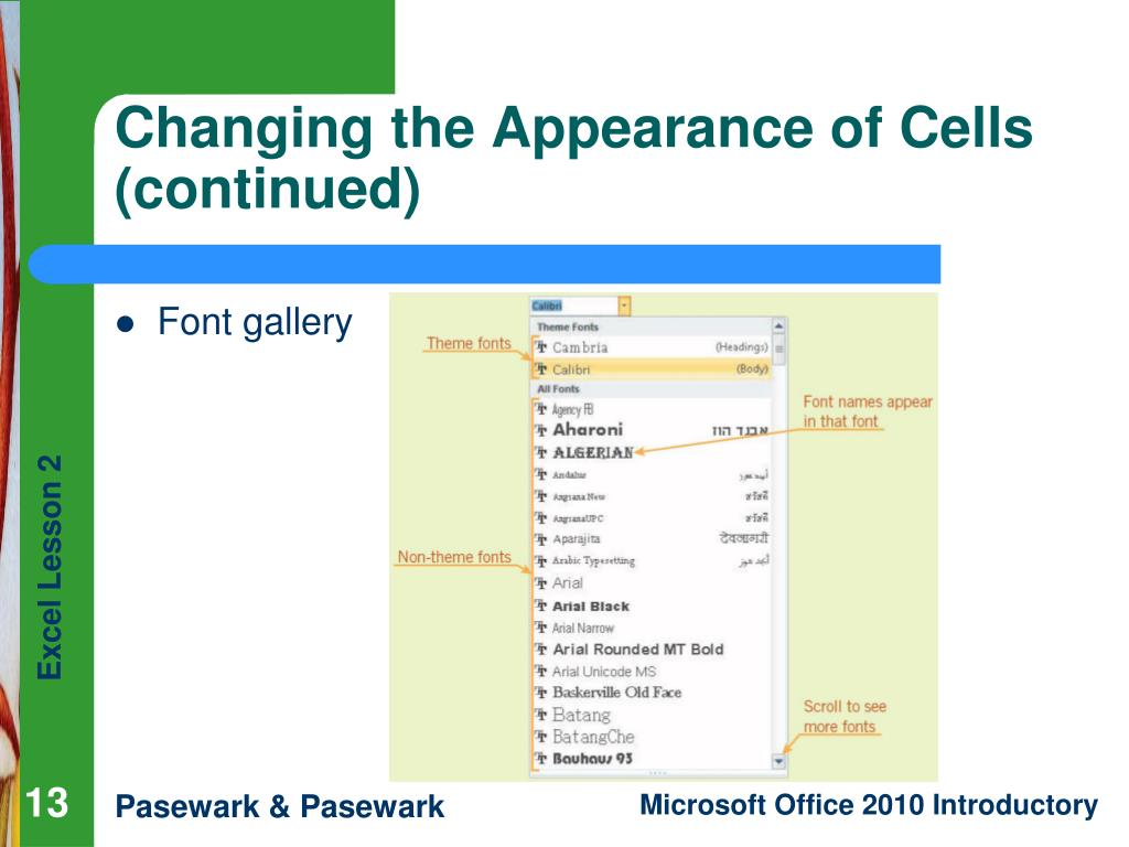 Changing the Appearance of Cells (continued)