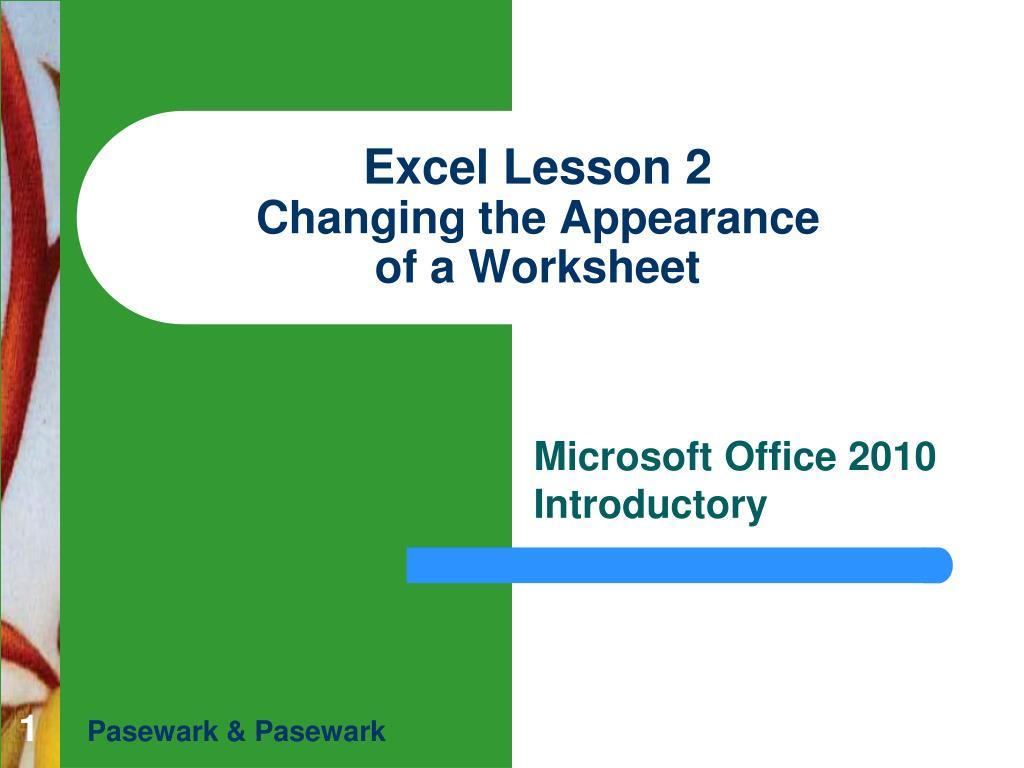 Excel Lesson 2
