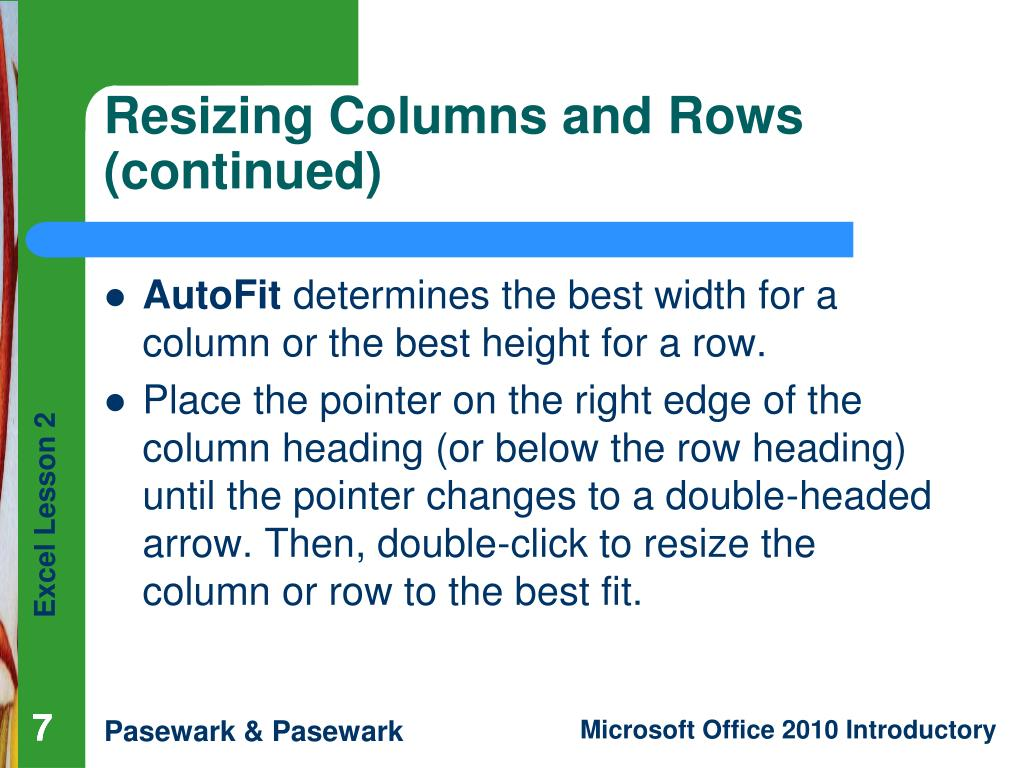 Resizing Columns and Rows (continued)