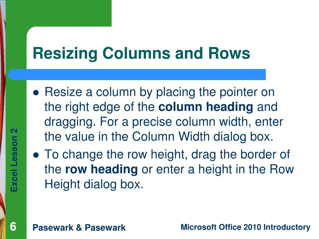 Resizing Columns and Rows