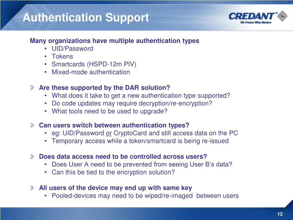 Authentication Support