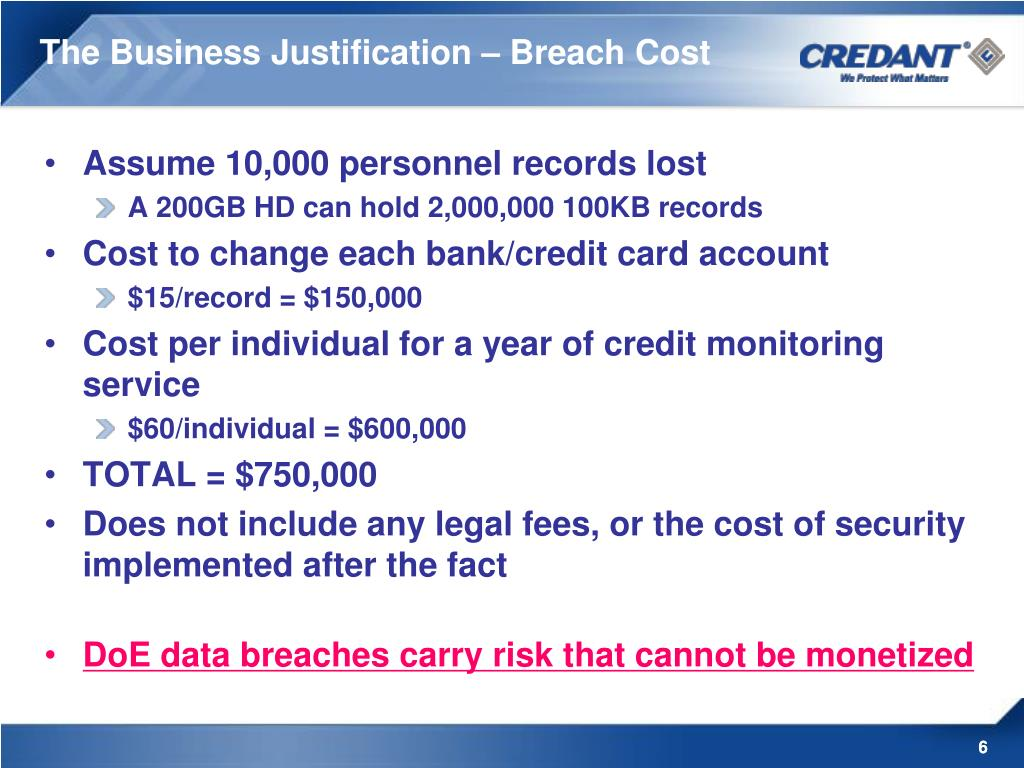 The Business Justification – Breach Cost