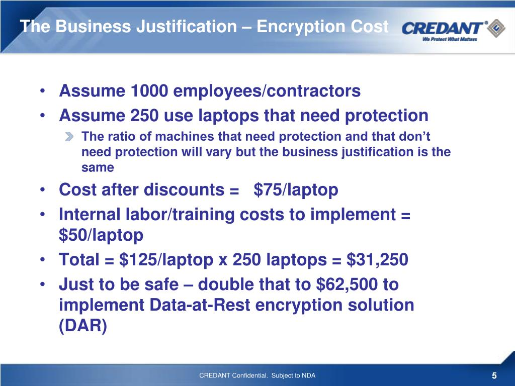 The Business Justification – Encryption Cost