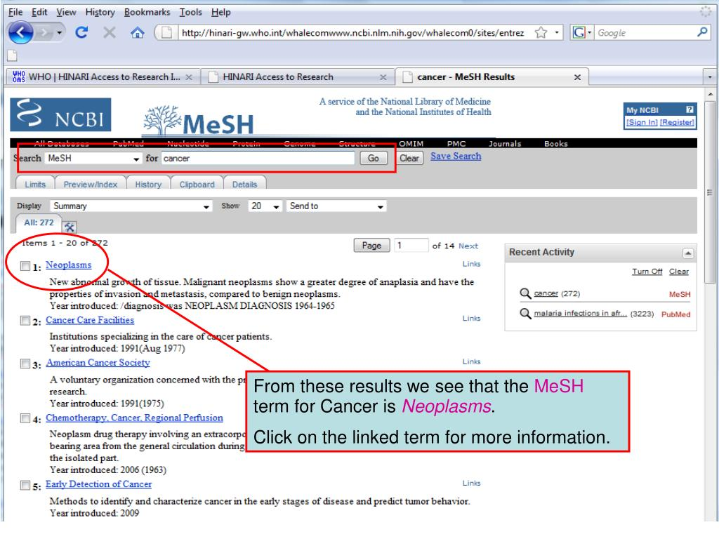MeSH search results