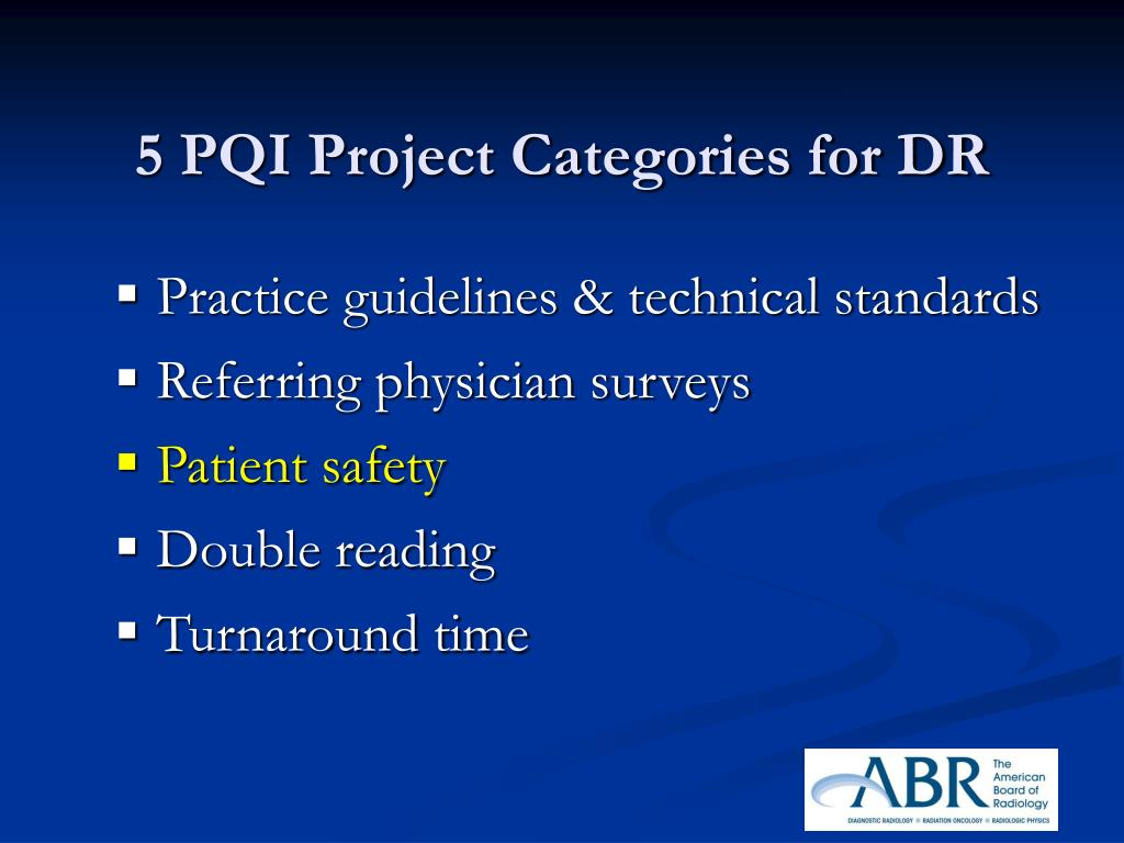 5 PQI Project Categories for DR
