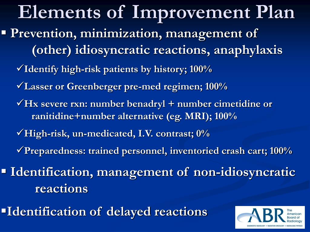 Prevention, minimization, management of (other) idiosyncratic reactions, anaphylaxis