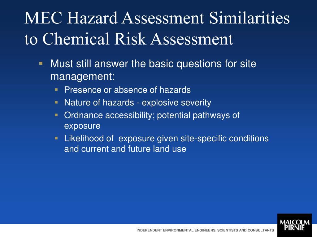 MEC Hazard Assessment Similarities to Chemical Risk Assessment