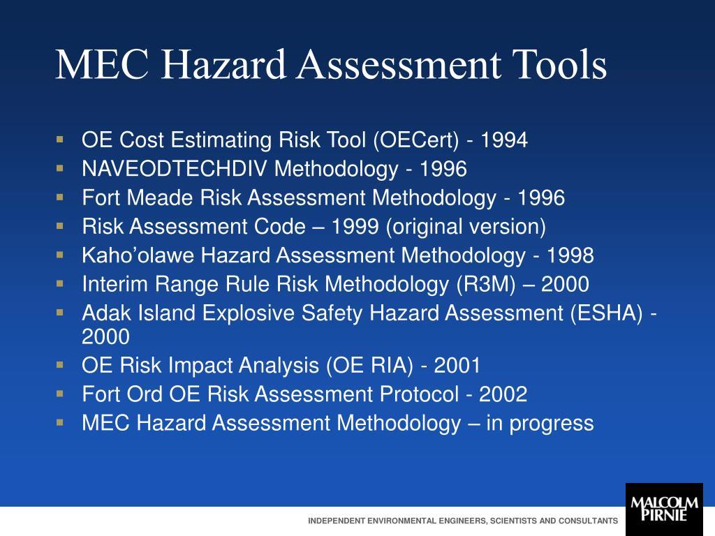 MEC Hazard Assessment Tools