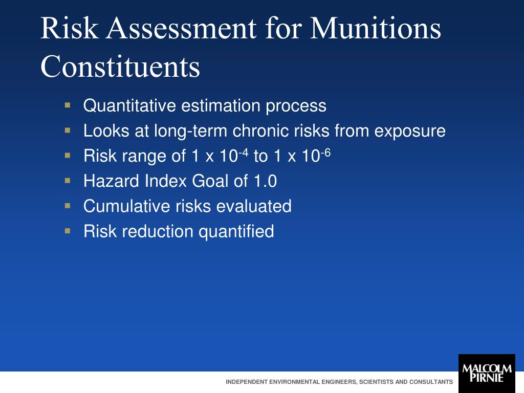 Risk Assessment for Munitions Constituents