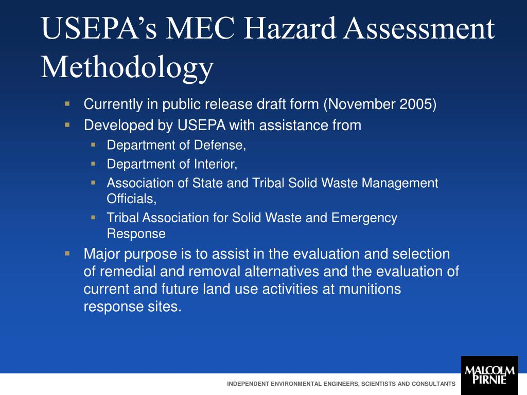 USEPA's MEC Hazard Assessment Methodology