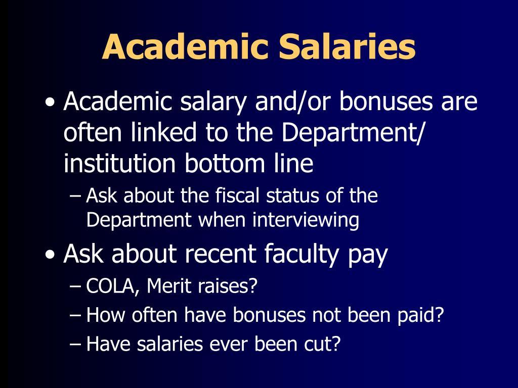 Academic Salaries