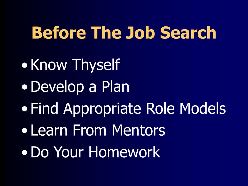 Before The Job Search