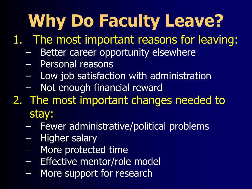 Why Do Faculty Leave?