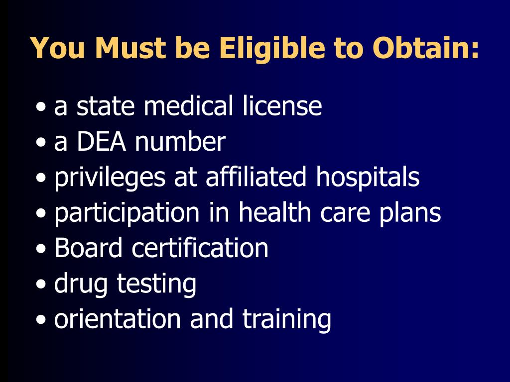 You Must be Eligible to Obtain: