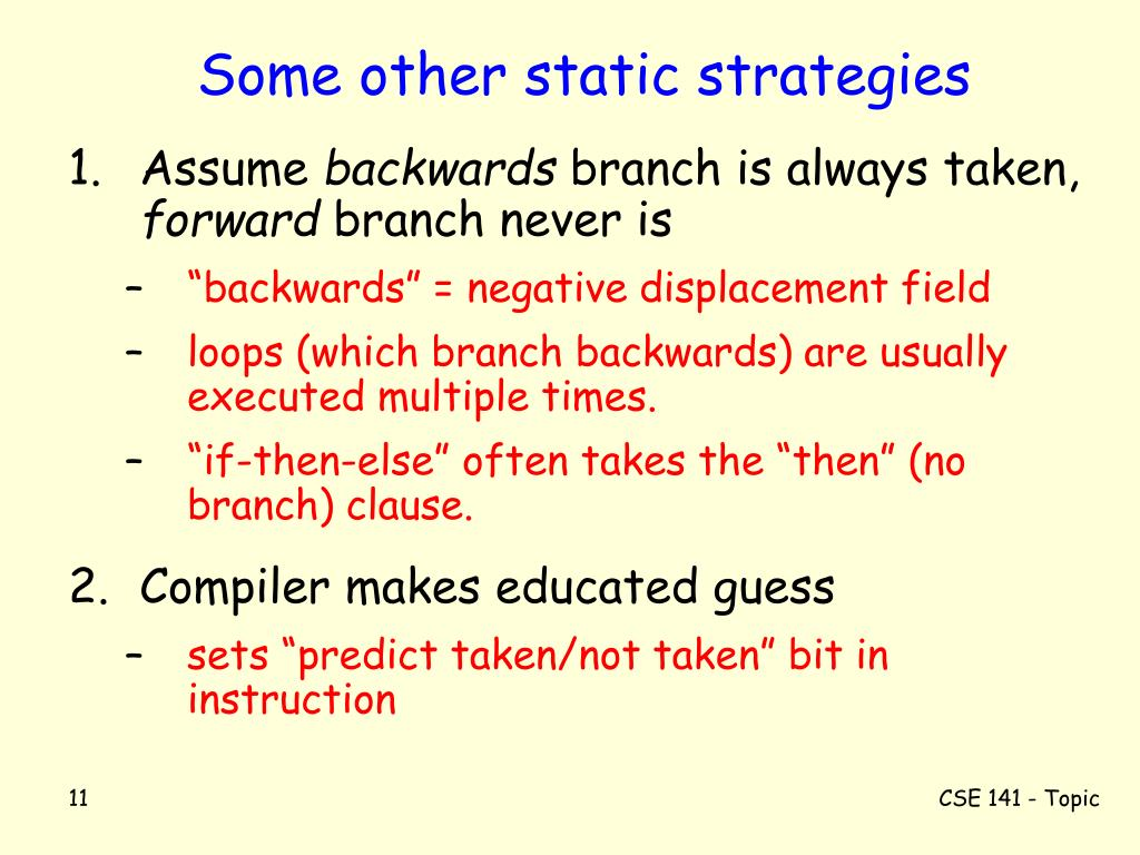 Some other static strategies