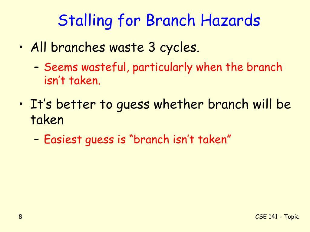 Stalling for Branch Hazards