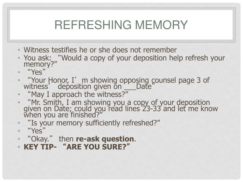 Refreshing Memory