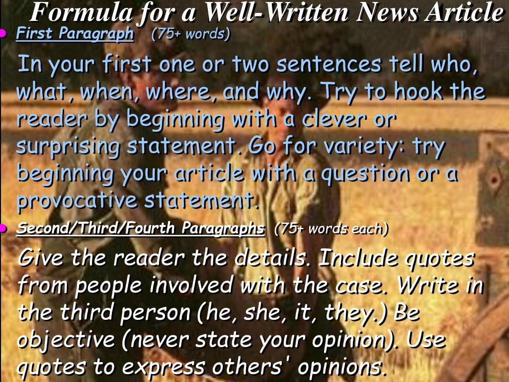 Formula for a Well-Written News Article