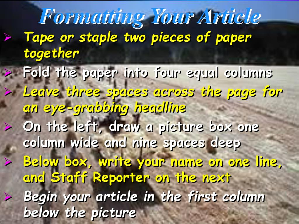 Formatting Your Article