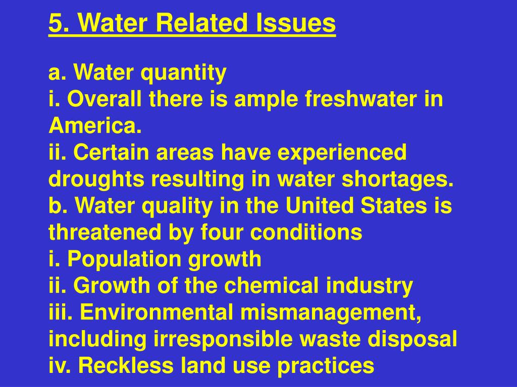 5. Water Related Issues