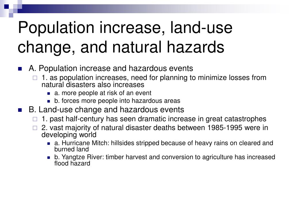 Population increase, land-use change, and natural hazards
