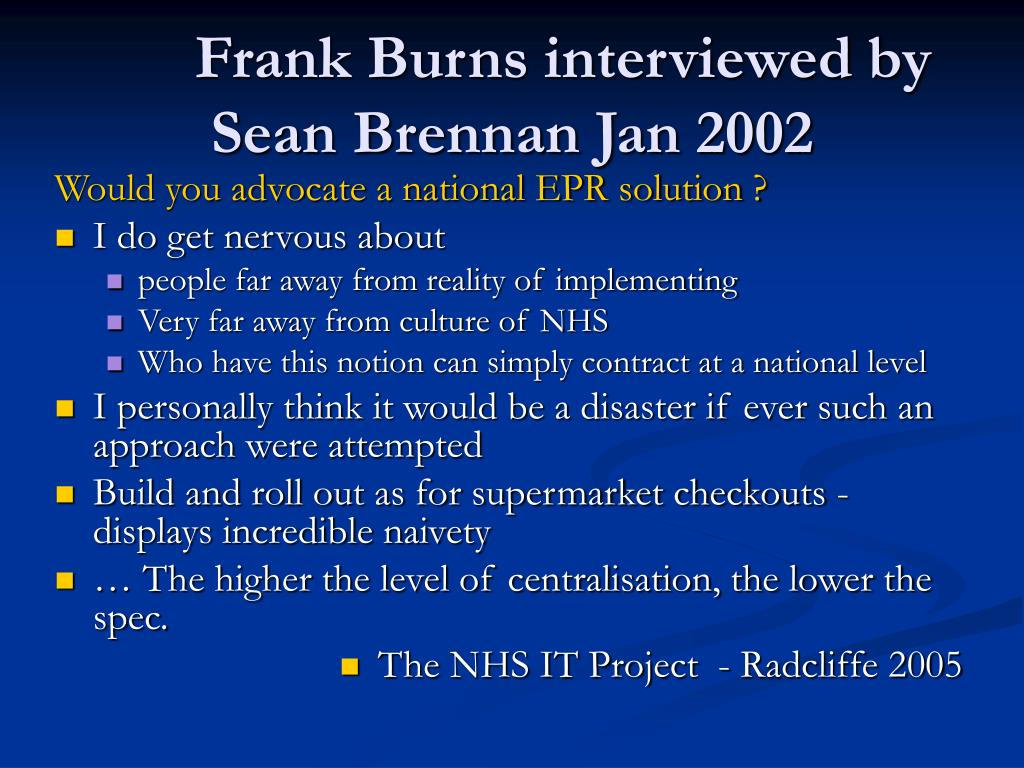 Frank Burns interviewed by Sean Brennan Jan 2002