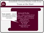 establish ground rules with your team at the start