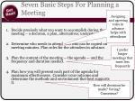 seven basic steps for planning a meeting