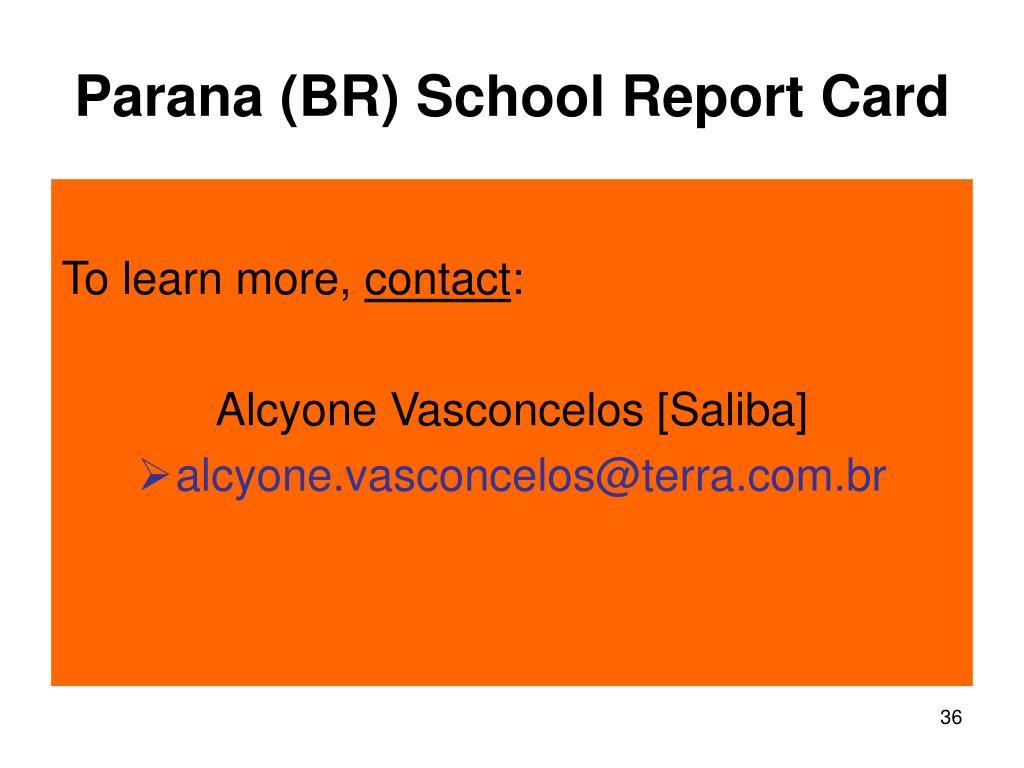 Parana (BR) School Report Card