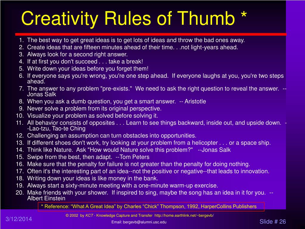 Creativity Rules of Thumb *