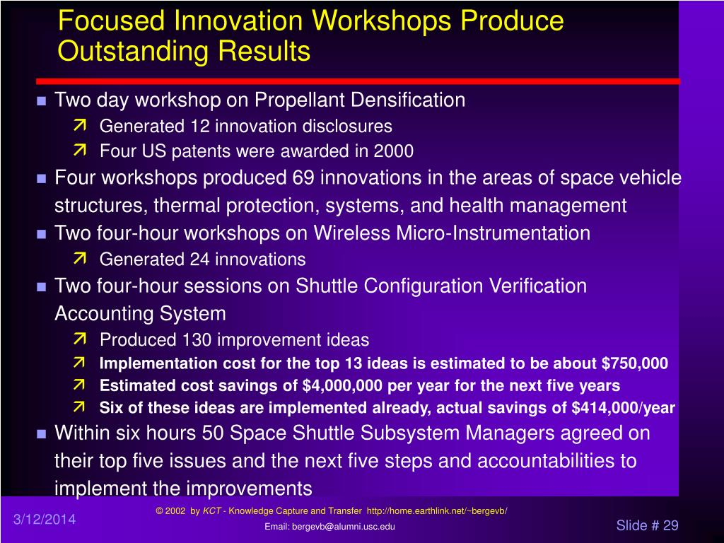 Focused Innovation Workshops Produce Outstanding Results